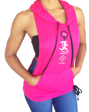 Do You Run Curves? Fuchsia Jersey Hoodie
